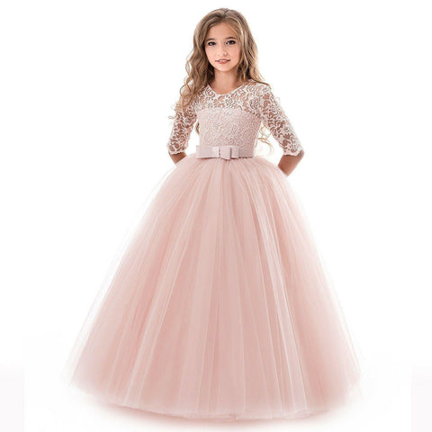 Girls Kids Formal Lace Princess Party Wedding Dresses Full Length Ball Gown Dress - SpiritCos