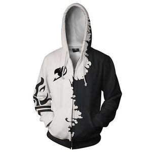 Unisex Hoodie Fairy Tail Gray Fullbuster Zip-Up Hooded Sweatshirt Unisex - SpiritCos