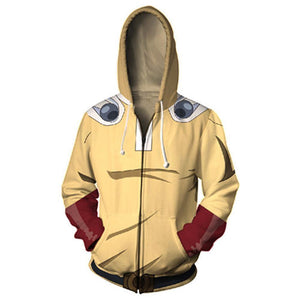 Unisex Saitama Sensei Hoodies One Punch Man Zip Up 3D Print Jacket Sweatshirt - SpiritCos