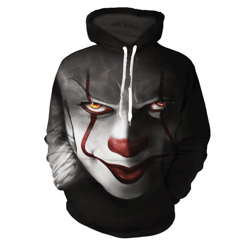 Men'S It Pennywise Floral Print Clown Hoodie Long Sleeve Pullover With Pocket - SpiritCos