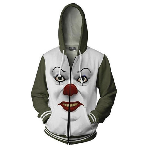 Unisex Stephen King'S It Hoodies Pennywise Printed Zip Up Jacket Sweatshirt - SpiritCos