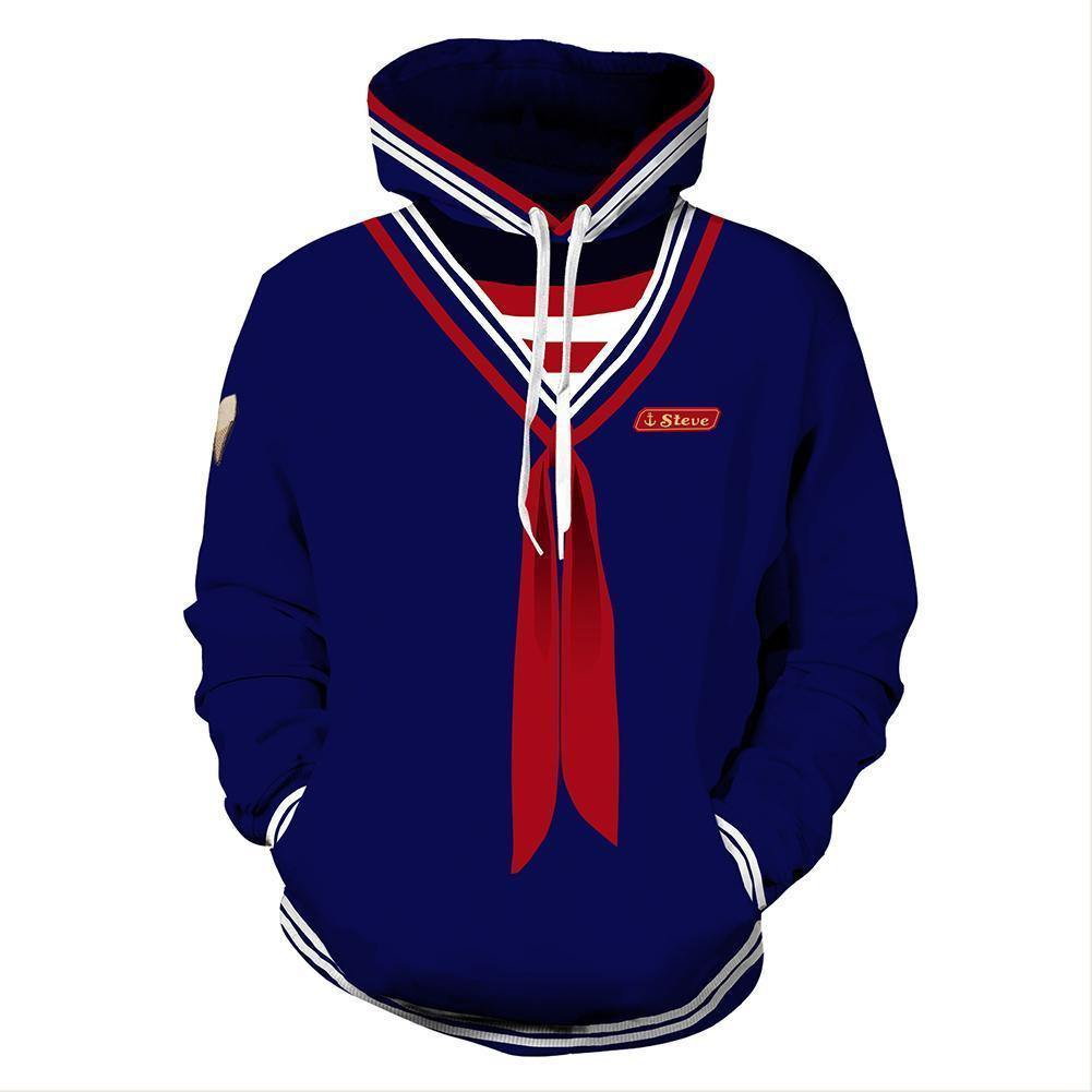 Teen Hoodie Stranger Things Scoops Ahoy Steve Cosplay Costume Unisex - SpiritCos
