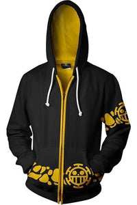Teen Hoodie One Piece Trafalgar Law Zip Up Sweatshirt Unisex - SpiritCos