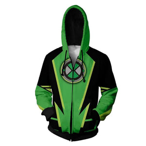 Unisex Anime Hoodies Ben 10 Zip Up 3D Print Jacket Sweatshirt - SpiritCos