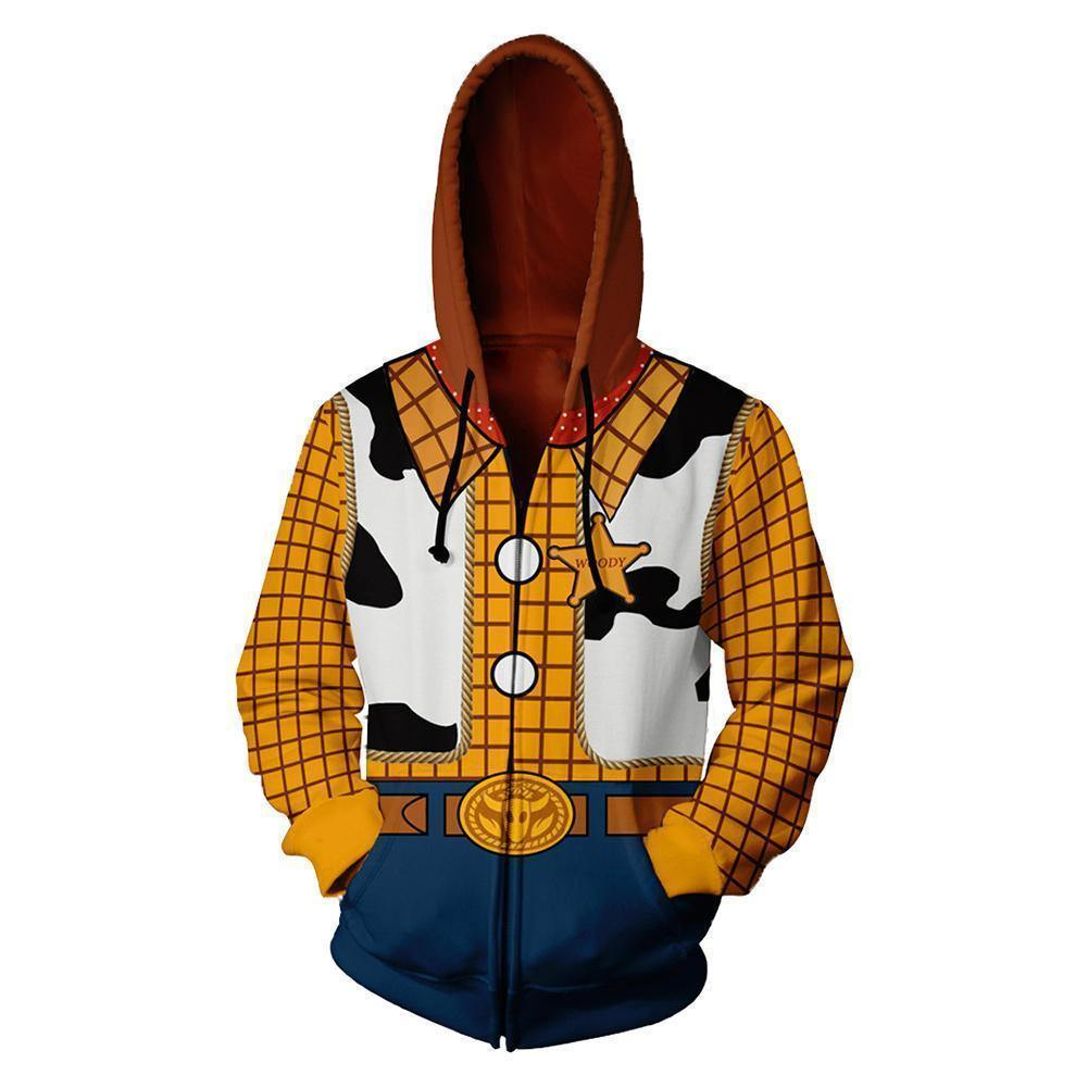 Unisex Woody Hoodies Anime Cartoon Toy Story Zip Up 3D Print Jacket Sweatshirt - SpiritCos