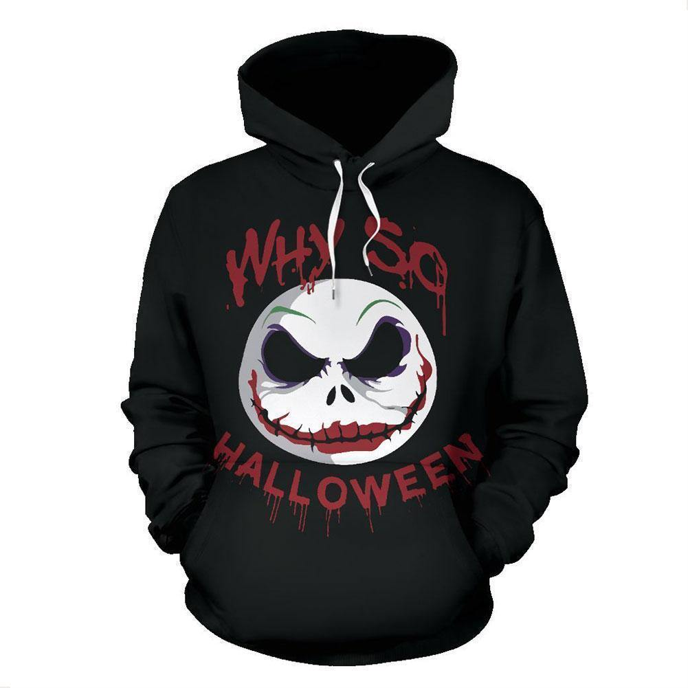 Unisex Nightmare Before Christmas Hoodies Clown Jack Skellington Printed Pullover Jacket Sweatshirt - SpiritCos