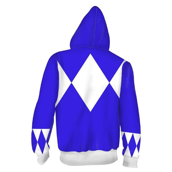 Unisex Blue Ranger Hoodies Power Rangers Zip Up 3D Print Jacket Sweatshirt - SpiritCos