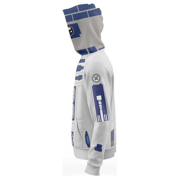 Unisex Robot R2-D2 Hoodies Star Wars Zip Up 3D Print Jacket Sweatshirt - SpiritCos