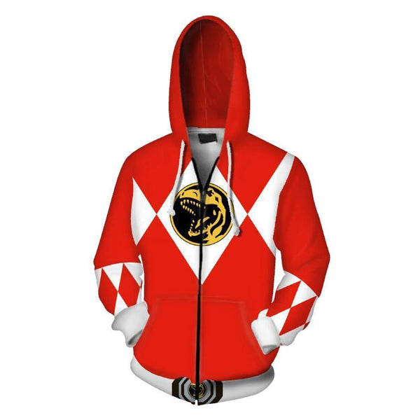 Unisex Red Ranger Hoodies Power Rangers Zip Up 3D Print Jacket Sweatshirt - SpiritCos
