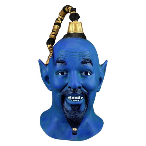 Movie Aladdin Magic Lamp Elves Will Smith Blue Latex Helmet Cosplay Props - SpiritCos