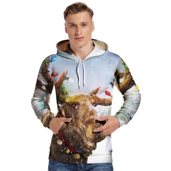 Mens Hoodies 3D Graphic Printed Christmas Rhinoceros Pullover Hoodie - SpiritCos