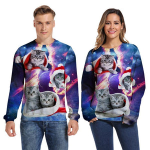 Mens Pullover Sweatshirt 3D Printed Merry Christmas Four Cat Long Sleeve Shirts - SpiritCos