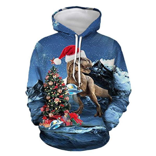 Mens Hoodies 3D Graphic Printed Merry Christmas Dinosaur Blue Pullover Hoodie - SpiritCos