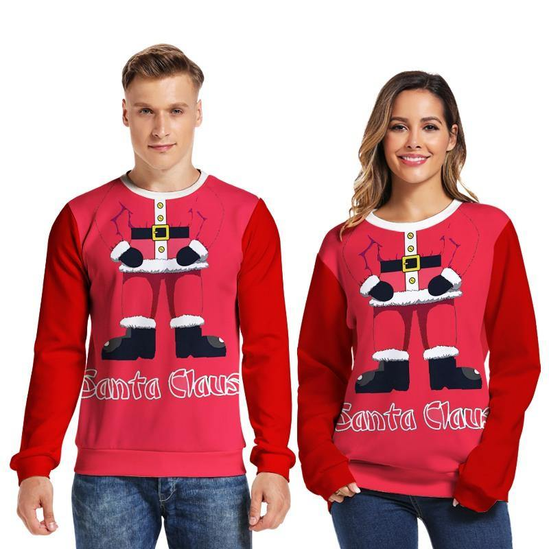 Mens Pullover Sweatshirt 3D Printed Christmas Santa Claus Red Long Sleeve Shirts - SpiritCos