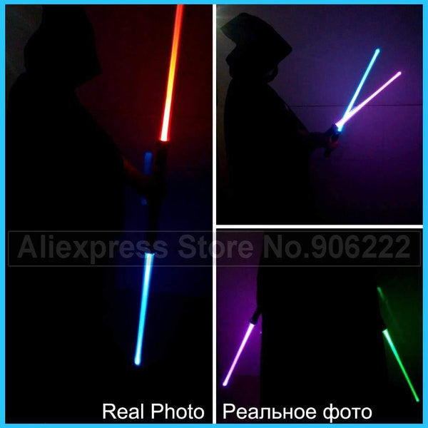 2 Pieces Sound Star Wars Lightsaber Cosplay Props Kids Double Light Saber Toy Sword for Boys Christmas Gifts - SpiritCos