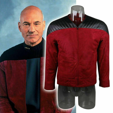 Star Trek The Next Generation Tng Captain Picard Duty Uniform Jacket Tng Red Costume Halloween Cosplay Costume - SpiritCos