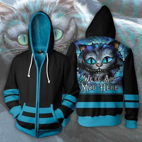 Alice In Wonderland Cat Zipper Hoodie Hooded 3D Print Unisex Fashion Pullover Sweatshirt Sportswear Streetwear Cosplay Costumes - SpiritCos