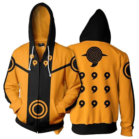 Adult Kyuubi Uzumaki Naruto Hoodies Uniform Jacket Cosplay Hoodies With Zippers - SpiritCos