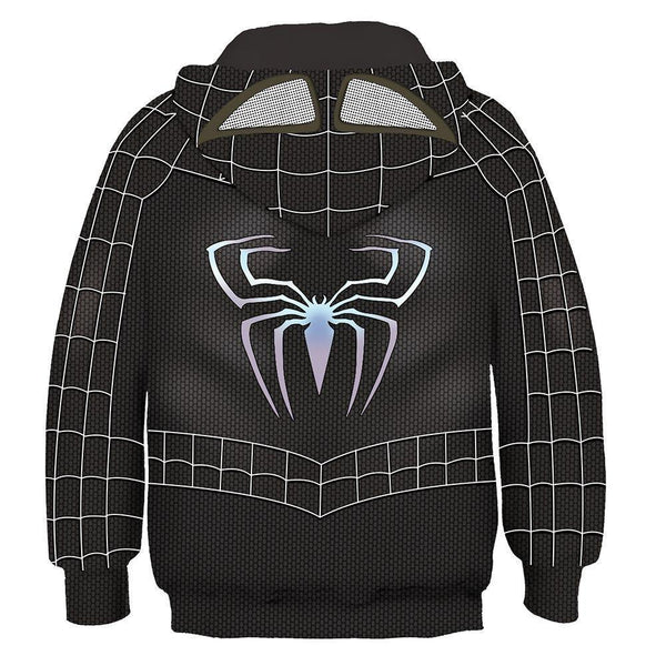 Kids Movie Hoodies Spider-Man Pullover 3D Print Jacket Sweatshirt Black - SpiritCos