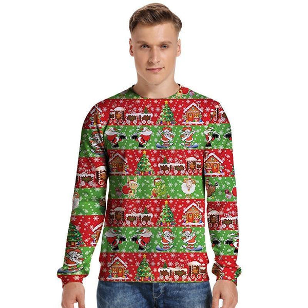 Mens Pullover Sweatshirt 3D Printed Merry Christmas Snowflake Long Sleeve Shirts - SpiritCos