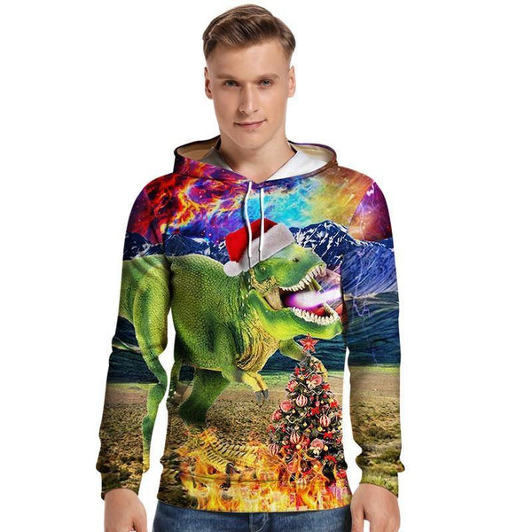 Mens Hoodies 3D Graphic Printed Merry Christmas Dinosaur Colorful Pullover Hoodie - SpiritCos