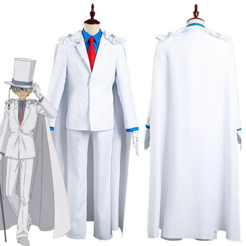 Detective Conan/Case Closed Kaito Kuroba Kid The Phantom Thief Shirt Pants Outfits Halloween Carnival Suit Cosplay Costume - SpiritCos