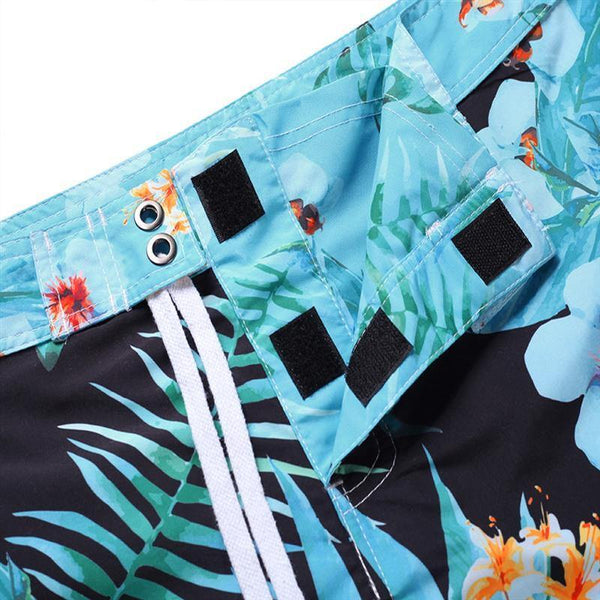 Men'S Beach Board Shorts Tropical Floral Pattern Swimming Pants - SpiritCos
