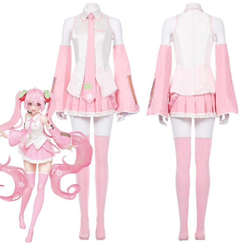Vocaloid-Sakura Miku Pink Dress Outfits Halloween Carnival Suit Cosplay Costume - SpiritCos