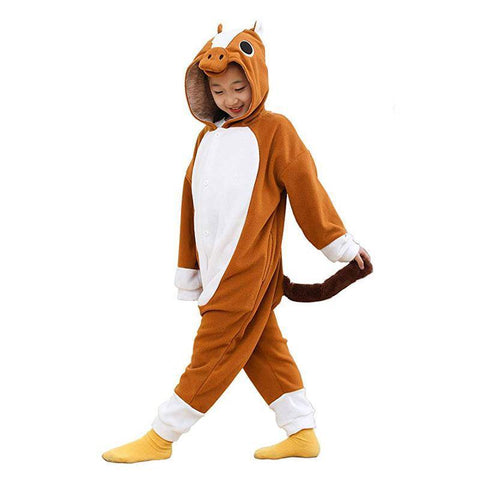 Brown Horse Plush Onesie For Kids Brown Horse Pajamas For Girls - SpiritCos