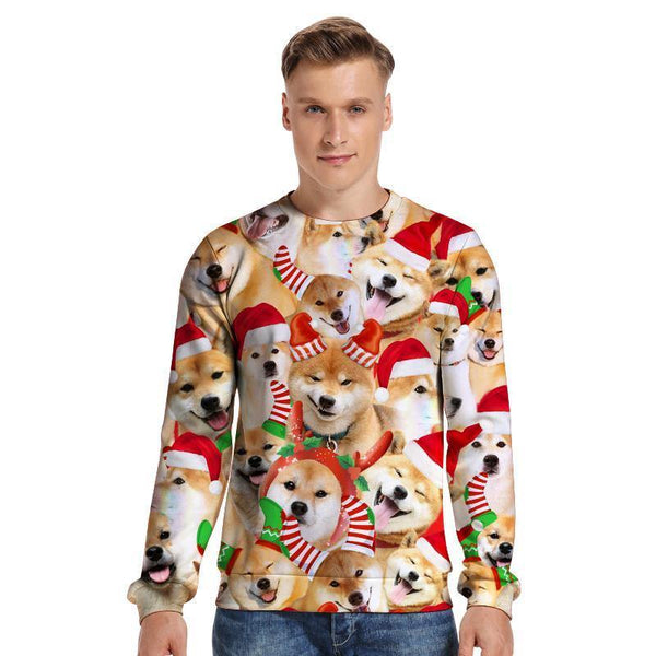 Mens Pullover Sweatshirt 3D Printed Christmas Cute Dog Party Long Sleeve Shirts - SpiritCos