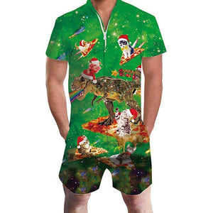 Men'S Ugly Christmas Green Rompers - SpiritCos