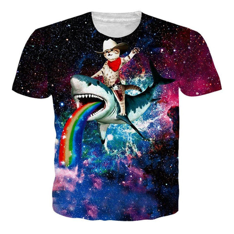 Mens 3D Printing T Shirts Cat Riding Shark Shirt - SpiritCos