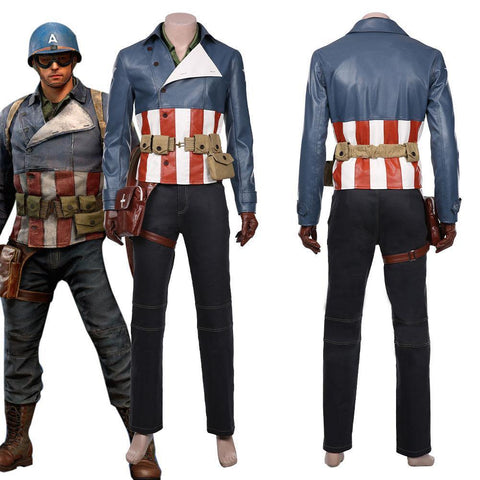 Avengers Game-Captain America Coat Jacket Outfits Halloween Carnival Suit Cosplay Costume - SpiritCos