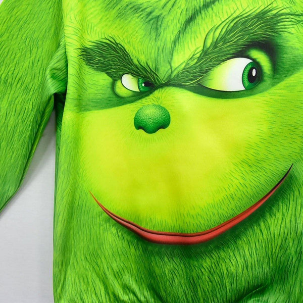 Grinch Zip Up Hoodie Green 3D Outwear Christmas Long Sleeve Top Kids Hoody - SpiritCos