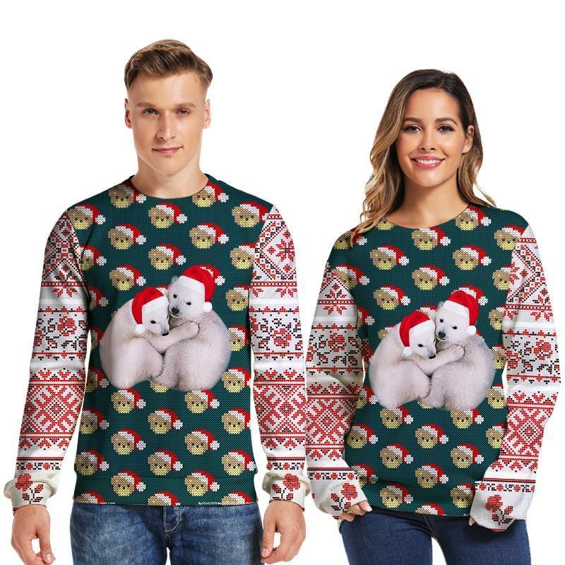 Mens Pullover Sweatshirt 3D Printed Christmas Two Dogs Long Sleeve Shirts - SpiritCos