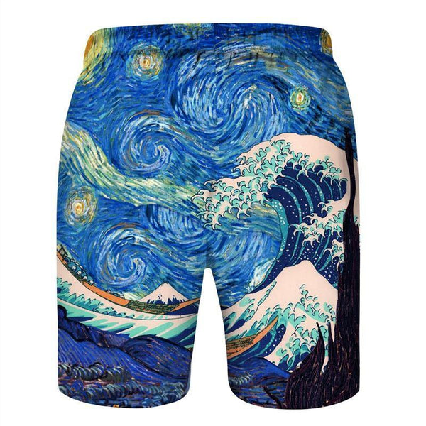 Van Gogh Galaxy Beach Board Shorts - SpiritCos