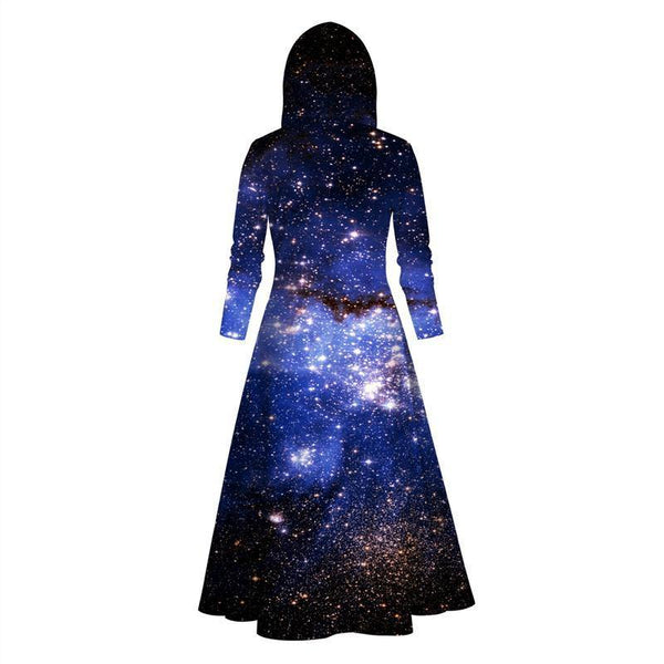 Womens Long Hoodies 3D Graphic Printed Blue Galaxy Pullover Sweater Dress - SpiritCos