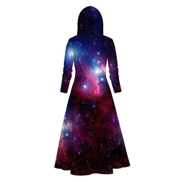 Womens Long Hoodies 3D Graphic Printed Purple Starry Sky Pullover Sweater Dress - SpiritCos