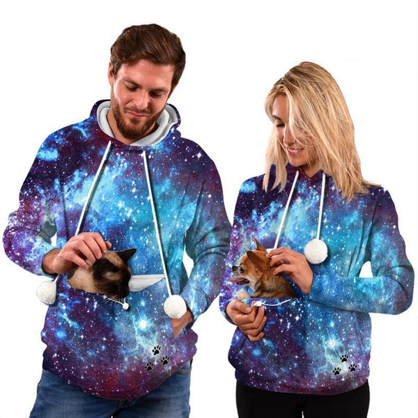 Mens Womens Hoodies Galaxy Pullovers With Pet Cuddle Pouch - SpiritCos