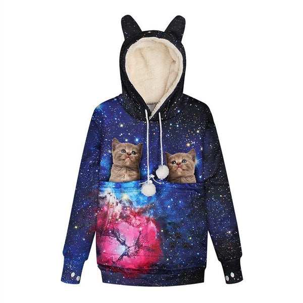 Mens Womens Hoodies Galaxy Pullovers With Pet Cuddle Pouch Bag - SpiritCos