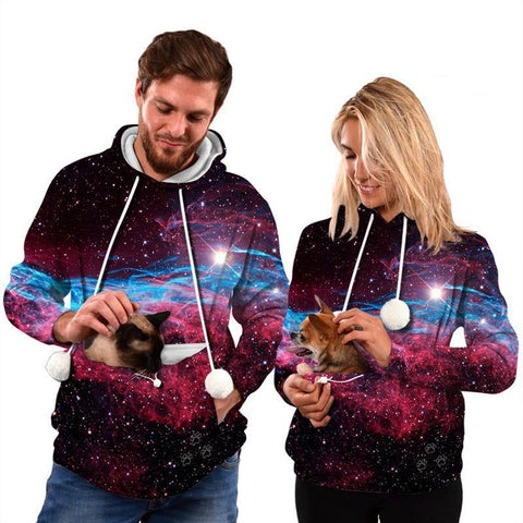 Mens Womens Hoodies Galaxy Pullover With Cat Dog Cuddle Pouch Bags - SpiritCos