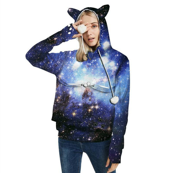 Mens Womens Hoodies Galaxy Pullovers With Cat Dog Cuddle Pouch Bags - SpiritCos