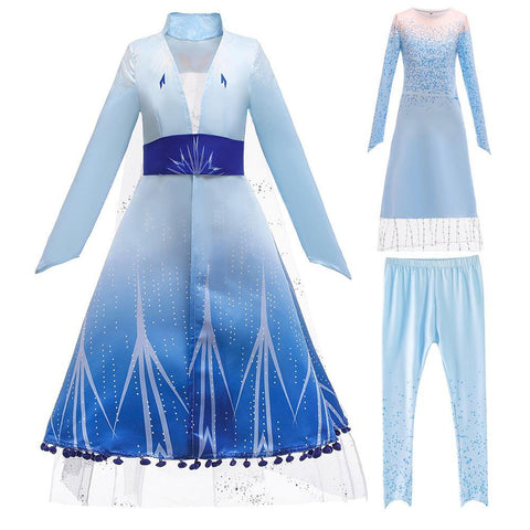 Frozen 2 Kids Girl Elsa Costume Dresses Blue Pants Coat Outfit For Party Holiday - SpiritCos