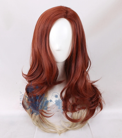 Black Widow Adult Dark Red Gradient Synthetic Hair Body Wave Wig - SpiritCos