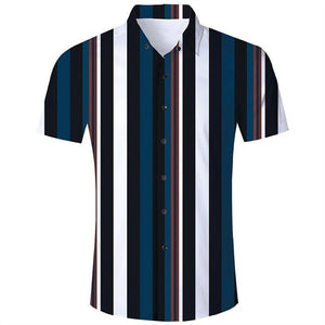 Men'S Hawaiian Short Sleeve Shirts Stripe Printing - SpiritCos