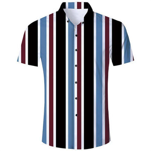 Men'S Hawaiian Short Sleeve Shirts Blue Stripes Print - SpiritCos