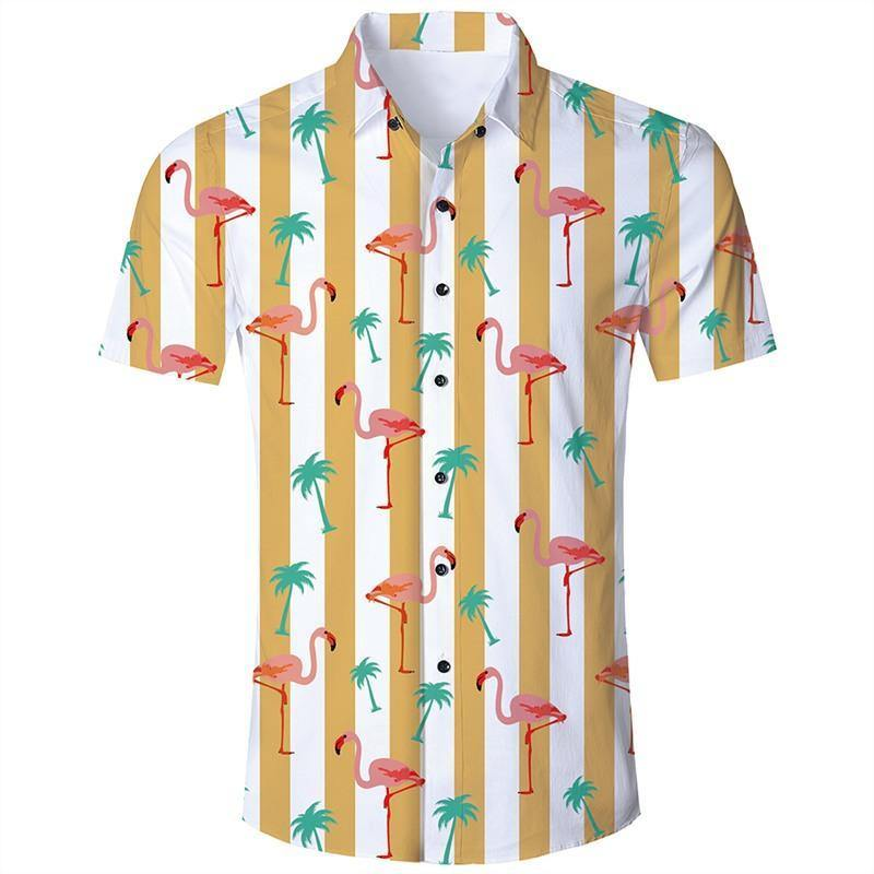 Men'S Hawaiian Short Sleeve Shirts Yellow Stripes Flamingo Print - SpiritCos