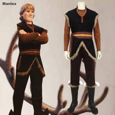 Cartoon Movie Prince Kristoff Bjorgman Costume Elsa Anna Cosplay Vest Pants Belt Props Halloween Carnival Adult Men Outfit Suit - SpiritCos