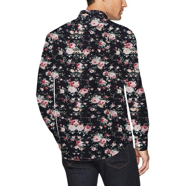 Sale Sale Sale!!! Mens Shirts Flower Printed Black Blouse Shirts - SpiritCos