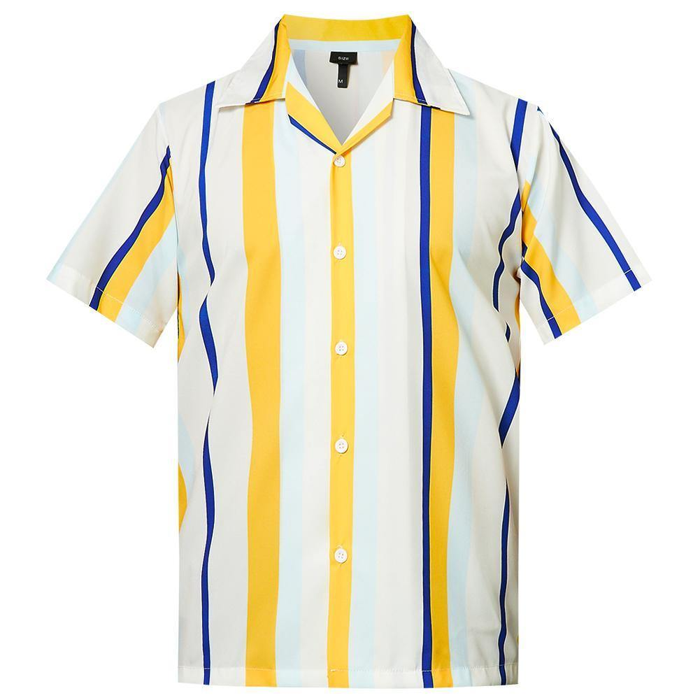 Men'S Hawaiian Shirt Yellow White Stripes Printing - SpiritCos